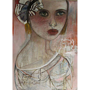 "Original Oil Painting 46x64""Monique Bavaud title ~ Kitty"