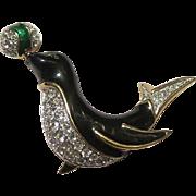 Vintage Carol lee Penguin rhinestone enamel brooch