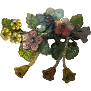 Vintage hand Beaded Glass Floral Brooch Womens Jewelry