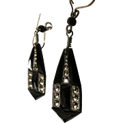 Vintage Black Glass and Marcasite Art Deco Dangle Earrings