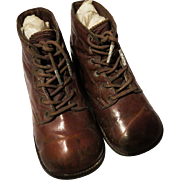 Vintage brown leather childs vintage hightop shoes
