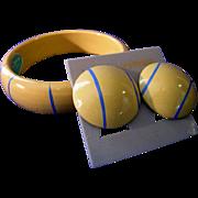 Du Barry Bangle Bracelet & Earrings Vintage with original label