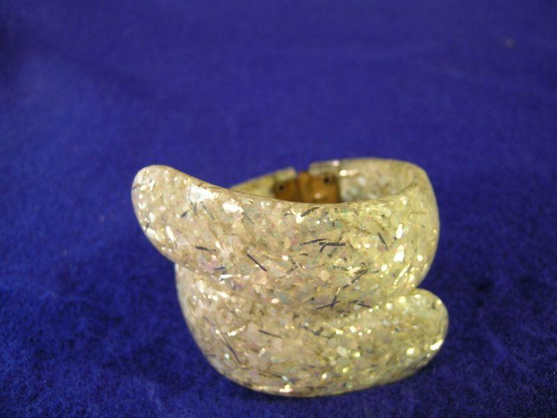 Lucite Confetti Hinged Bangle or Bracelet