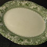 Green Transferware Serving Platter Madrid Pattern by W.H. Grindley
