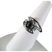 Size 7 & 1/2 Sterling Silver  and Obsidian Cabochon Ring