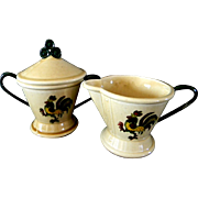 Metlox Poppytrail Green Rooster Creamer and Lidded Sugar Bowl