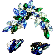 Beautiful Green & Blue Rhinestone Broach w/ Earrings