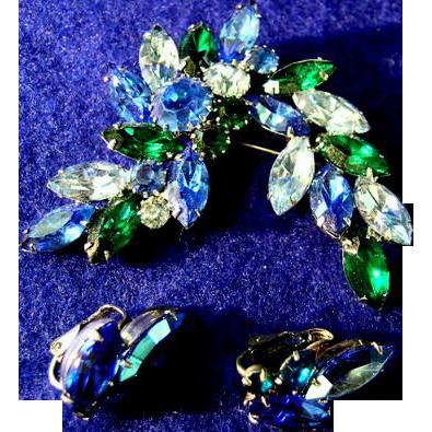 Beautiful Green & Blue Rhinestone Broach w/ Earrings