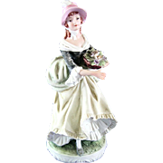 Lefton Hand Painted Lady Bisque Figurine