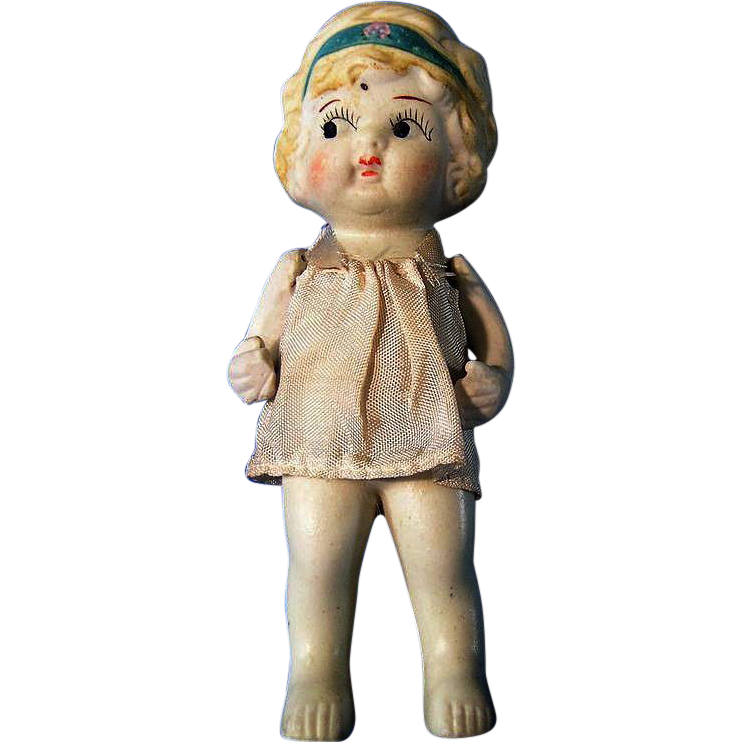Bisque Flapper Googly Eye Doll w/ Butler Stand and Original Dress