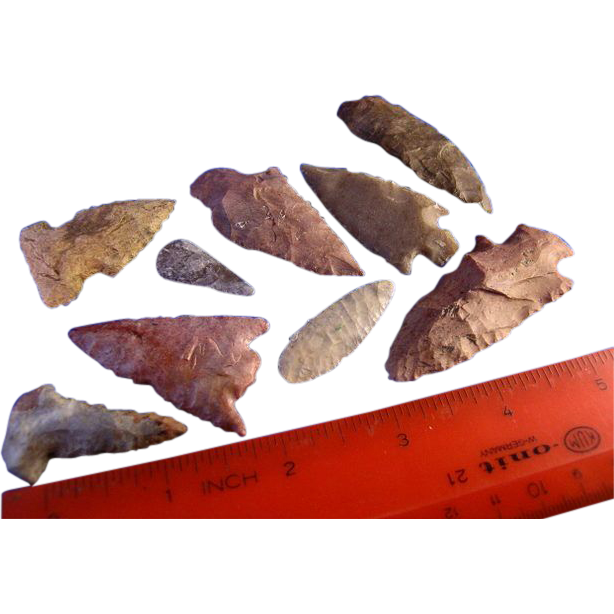 Nice Group Of  Indian Arrowheads Artifacts Arrow Head