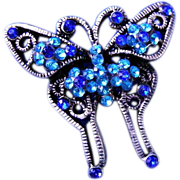 Lovely Blue Rhinestone Butterfly Brooch or Broach