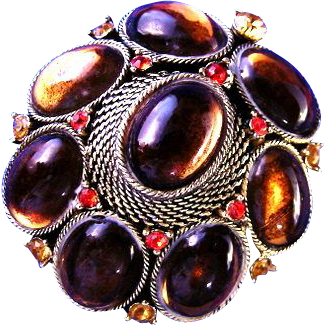Vintage Amber Cabochons with Orange Rhinestones Brooch