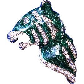 Angel Fish and Tiger Green Emerald Brooches