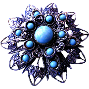 Large Faux Turquoise Brooch  Broach