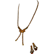 Beautiful Topaz Rhinestone Necklace and Earring Set