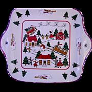 Christmas Village Square Platter by Mason's Ironstone