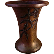 Heintz Art Metal Bronze Vase With Silver Overlay