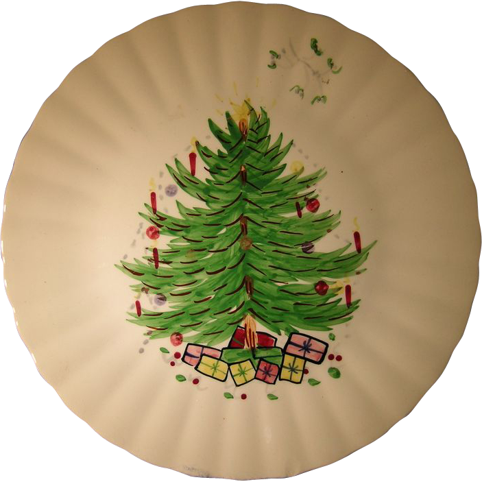 Christmas Trees Garden Ridge: Blue Ridge Southern Potteries Christmas Tree Plate From