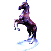 German Porcelain Rearing Horse by Hertwig