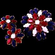 Patriotic Set of Earrings and Brooch