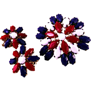 Patriotic Set of Earrings and Brooch