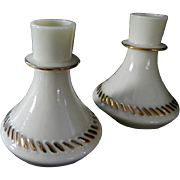 Vintage Custard Glass Candle Holders by Wheatonware