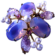 Lovely Opalescent Beveled Stones with Faux Pearl Brooch