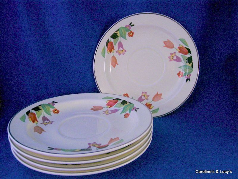 Set of Five Hall China Crocus Pattern Saucers