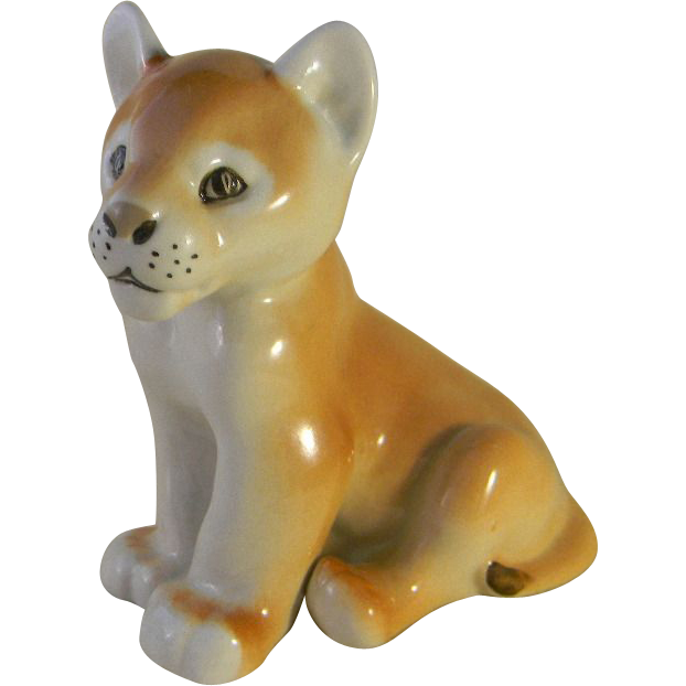 Lomonosov Russian Lion Cub Porcelain Figurine marked USSR
