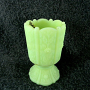 "Fenton ""Lime Sherbet""  Paneled Daisey Toothpick Holder"