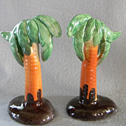 1950's Cork Stoppered Palm Tree Salt & Pepper Shakers
