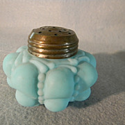 Circa 1894 Blue Guttate Pattern Shaker with Original Lid