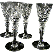 Set of 4 Hawkes Delft Diamond Cut Glass Cordials or Liquors