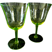 Two Royal Benton Crystal Yellow Wine Glasses