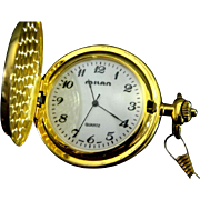 Vintage Quartz Movement Milan Pocket Watch w/ Hunter Case