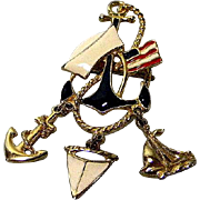 Patriotic Naval Brooch or Sailors Pin