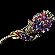 Aurora Borealis Thistle Pin & Earrings Set
