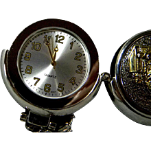 "Pocket Watch with ""Big Rig"" Emblem on Cover ...Quartz Movement **Hunter Case"
