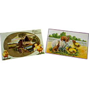 2 Antique Easter Cards Vintage 1916