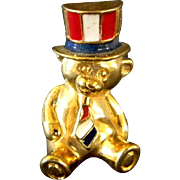 Patriotic Teddy Bear Pin or Tie Tac