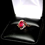 Ladies 10 K Rose Gold Diamond & Glass Filled Ruby Dinner Ring ** Size 7