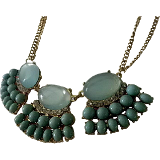 Statement Necklace with Faux Moonstones, Rhinestones  and Turquoise