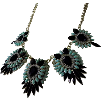 Onyx Black Glass and Turquoise Blue Statement Necklace