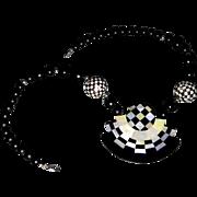 Op-Art Mother of Pearl Necklace & Earrings