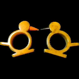 2 Bakelite Napkin Ring Holders Butterscotch Birds Art Deco