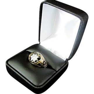 Beautiful Sterling Silver Ring with Gold Colored Accents