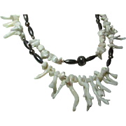 White Coral and Silver Colored Beaded Necklace