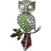 Pretty Owl Pin with Colored Rhinestones