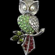 Pretty Owl Pin with Colored Rhinestones